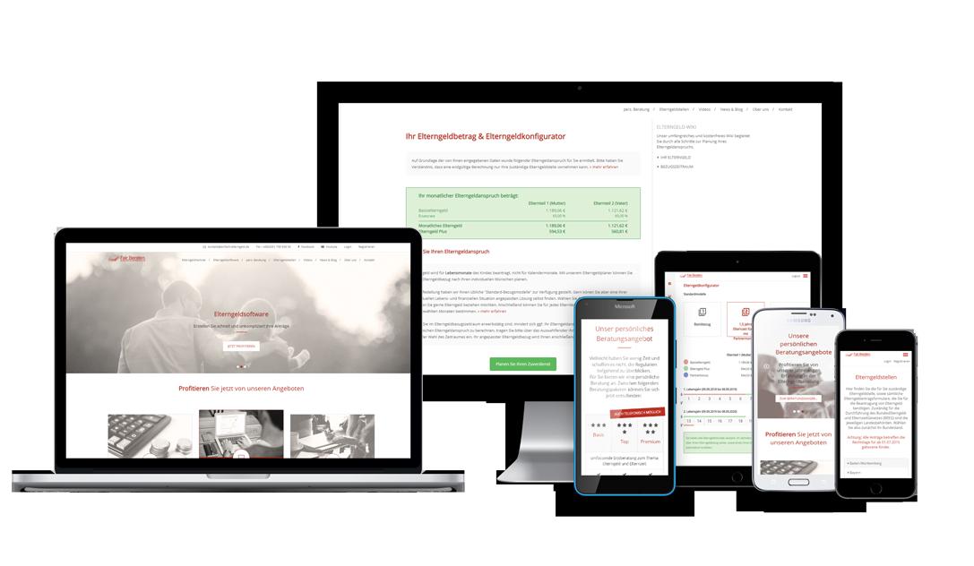 apple, samsung, microsoft geräte mit screens der elterngeldsoftware